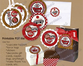 Silly SOCK MONKEY Birthday Tags (favor, cupcake topper) square/circle shapes PDF file