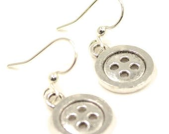 Button Earrings, Silver Button Charm, Button Jewelry, Seamstress Gift, Dress Maker, Sewing Charm, Sewing Gift,  Buttons, Silver Charms, E47