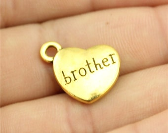 5 Brother Engraved Heart Charms, Antique Gold Tone Charms (1C-256)