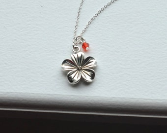 Flower Necklace- Blossom Nature Charm Jewelry- For mom- Mothers day- Customizable- Personalized Birthstones
