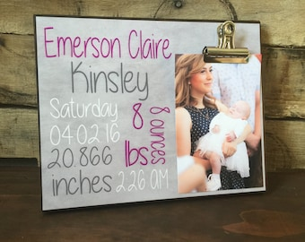 Baby Birth Announcement Picture Frame, New Baby Gift, New Born Baby Gift, New Parents Gift, Kids Picture Frame, Boy or Girl