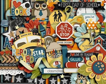On Sale 50% Off Smarty Pants School Digital Scrapbooking Kit for Digi Scrapping and Crafts