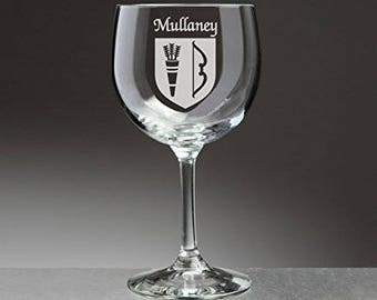 Mullaney Irish Coat of Arms Red Wine Glasses - Set of 4 (Sand Etched)