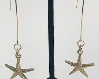 Starfish earrings, gold colored earrings, starfish jewelry, nautical earrings, beach jewelry, ocean jewelry, sea life earrings