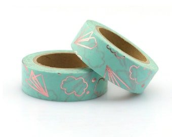 Washi tape with airplanes - very pretty masking tape airmail turquoise and gold