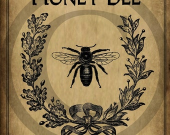 Primitive Honey Bee Pantry Logo Jpeg Digital File for Crock  Jar Labels, Pillows Framed Prints Hang Tags