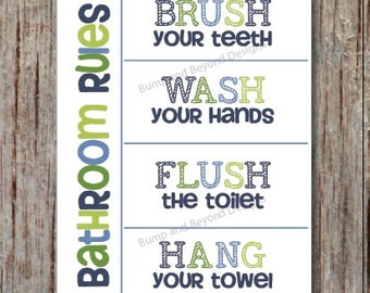 BATHROOM WALL ART Wash your hands Brush your teeth Hang your towel Flush the toilet Printable Bathroom Decor Instant Download Wall Art 003