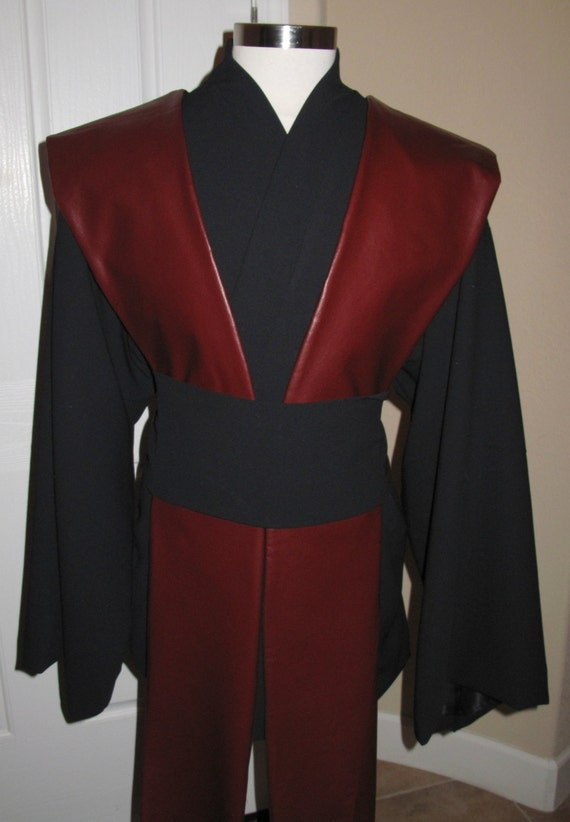 Star Wars black Jedi wool tunic,sash,4 pcs 100% wool gabardine with poly lining,burgundy pleather tabards