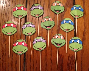 Teenage Mutant Ninja Turtle, TMNT 12 Piece Printed Cupcake Toppers / Picks