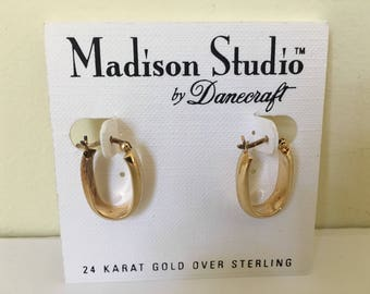 Vintage Dannecraft artisan handmade 24k gold plate over sterling silver earrings, classic style, stick back for pierced ears