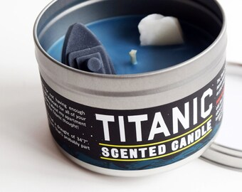 Titanic Scented Candle | Funny gift for a Titanic buff | Ocean scent | Wax model cruise ship and iceberg | Funny home decor