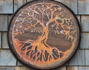 Tree of Life on Whiskey Barrel Head/Top - Custom Rusted Metal Work, Reclaimed Whiskey and Bourbon Barrel Furniture, Decor and Wall Art