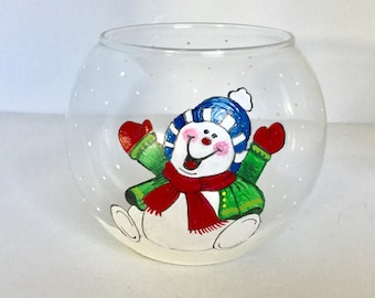 Hand Painted Snowman Glass Candle Holder - Happy Snowman Glass Bowl