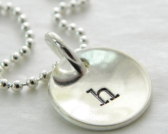 Initial Necklace Domed In Itty Bitty Initial hand stamped and personalized sterling silver necklace