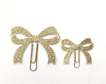 Gold Glitter Bow Paper Clip