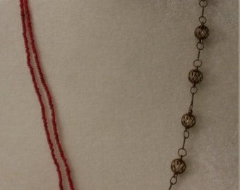 Unique 2 String Red Glass Bead Necklace with Antique Inspired Spheres - Necklace - Gift - Mother's Day