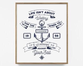 sailing print, sail quote print, sail print, navy blue print, nautical art, sail art, nautical print, sailing quote print, ocean quote print