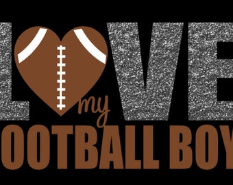 "Football Love Tee – Ladies ""I (Heart) My Football Boy"" Custom T-Shirt – Custom Number – Football Love Football Mom Football Girlfriend"