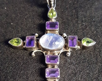 Beautiful Large sterling silver multi Stone cross with a very nice moonstone in the center