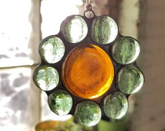 Stained Glass Flower Suncatcher with Light Green Glass Petals and Orange Center Ornament, Window Decoration Friend Gift