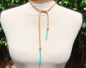 Turquoise Leather Multi-Wrap Necklace
