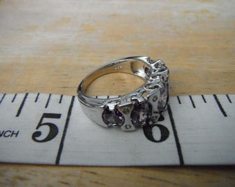 Beautiful 5 Amethyst Color Rhinestone Ring w/Cubic Zirconia Accents,Sterling Silver,Size 8.5  {B}