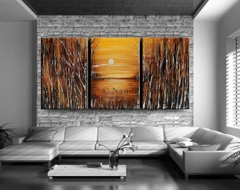 Landscape Painting Birch Tree Art 72 Inch, Acrylic Brown Painting, Abstract Painting, Sunset, gift for wedding, Anniversary Gift by Nandita