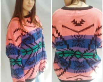 80s NEON Sweater, Colorful,  Indian BLANKET, Geometrci