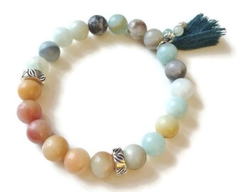 Beaded Amazonite Bracelet - Beaded Stretch Bracelet - Amazonite Gemstone Bracelet - Beaded Tassel Bracelet - Natural Stone Beaded Bracelet