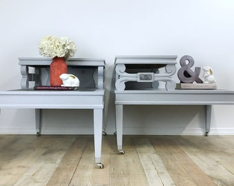 MCM Gray/Black/Silver End tables