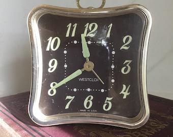 Vintage Travel Clocks, West-clock,Wind Up Clocks,Clocks,60's Clocks,70's Clocks, Hotel Alarm Clock