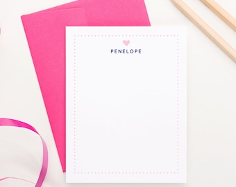 Kids Stationery set for girls - heart and poka dots personalized with name, KS004