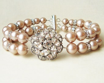 Champagne Pearl Bridal Wedding Bracelet, Vintage Style Champagne Pearl Bridal Bracelet Cuff, Silver Champagne Wedding Jewelry, CELINE