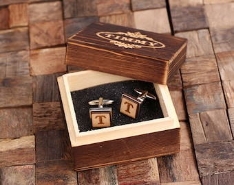 Silver Personalized Men's Classic Cuff Link Wood Inserts Monogrammed Engraved with Optional Gift Box Groomsmen, Best Man, Father's Day Gift