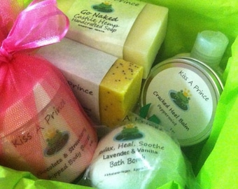 Kiss A Prince Bath Treats for THREE MONTHS  Includes 2 Soaps, Bath Salts &  Bath Bomb EVERY month, for 3 months.. Soap of the Month