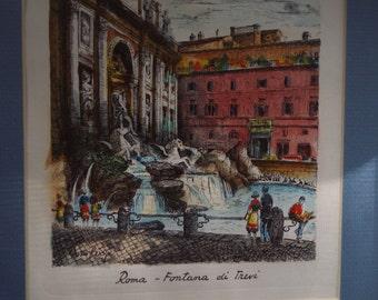 Mid century modern framed art print lithograph Italy Rome Trevi fountain
