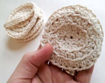 Face scrubbies, set of 4, scrubbies with handle, eco friendly, make up remover pads, washable, cotton crochet pads, crochet face scrubbies