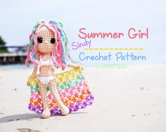 Crochet Doll Pattern - Summer Girl (Guichai Dolls Pattern, Amigurumi, Photo tutorial)