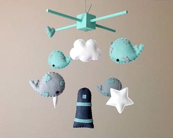 Nautical Nursery Decor . Whale Baby Mobile . Mint And Grey Nursery Decor . Whale Nursery Decor . Mint Green Baby Boy Baby Shower Gift .