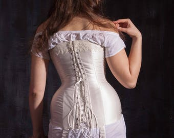 Milk-white 1910s Corset with Garters, Titanic Plus Size Curves Corset