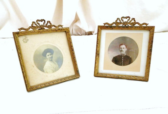 Pair of 19th Century Napoleon III 3 Antique French Gilded Metal Table Top Portrait Frames, 2 Photo Free Standing Wall Hanging Frame France