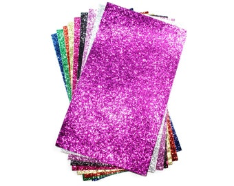 Chunky Glitter Leather Sheets for Bows - Fabric Sheets Fine Glitter, 7.8 inch x 13.3 inch Leather Fabric, Leather Sheet Pack for Crafts