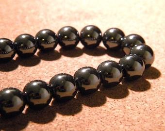 10 Pearl black hematite metallic 10 mm - gem stone PE294