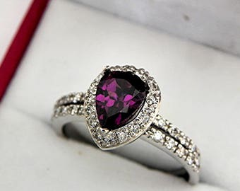 RARE! AAAA Purple Rhodolite Garnet Pear shape  9x6mm  1.51  Carats in 14K White gold Halo bridal set with .45cts of diamonds. 1717