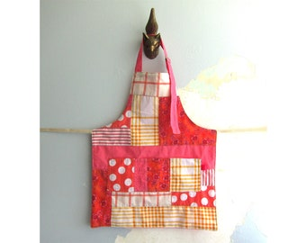 Toddler Apron with pockets - pink and orange patchwork