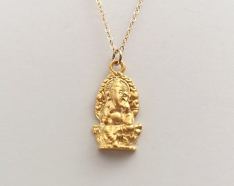 Ganesha Necklace, Gold Ganesha, Ganesh Pendant, Indian God, Yoga Necklace, 23k Gold Vermeil Ganesha, Yoga Jewelry