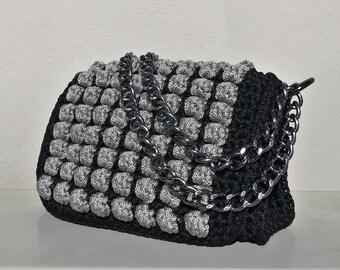 Bag, Crochet bag, Luxury handbag, Walnuts collection, Messenger bag, Shoulder bag, Handmade,  Designer handbag, Fashion bag, Made in Greece