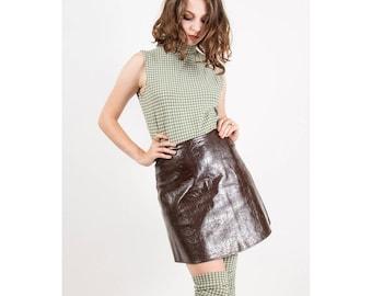 Vintage vinyl mini skirt / 1960s plastic micro mini / go-go PVC A line short skirt  / Vegan leather S