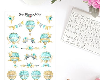 Magic Hot Air Balloons Planner Stickers | Watercolour Air Balloons | Hot Air Balloon Stickers | Watercolour Stickers (S-273)