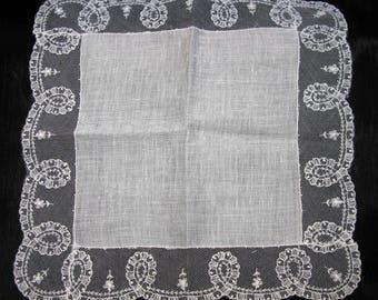 Something old for wedding gift for bride, antique handkerchief linen romantic handkerchief, wedding hanky